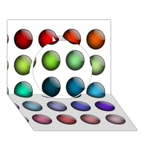 Button Icon About Colorful Shiny Circle 3D Greeting Card (7x5)