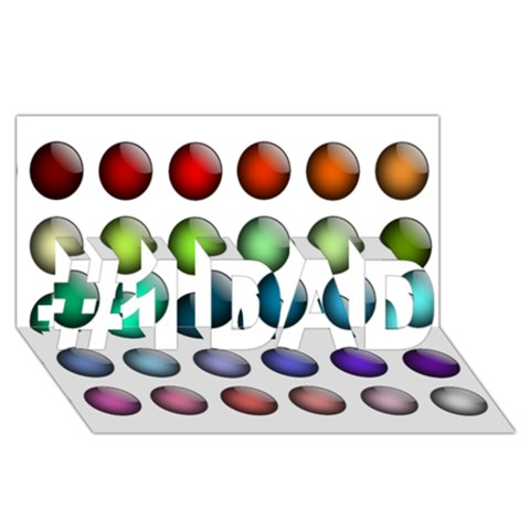 Button Icon About Colorful Shiny #1 DAD 3D Greeting Card (8x4)