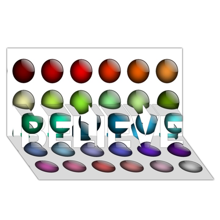 Button Icon About Colorful Shiny BELIEVE 3D Greeting Card (8x4)