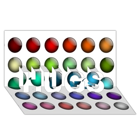 Button Icon About Colorful Shiny HUGS 3D Greeting Card (8x4)