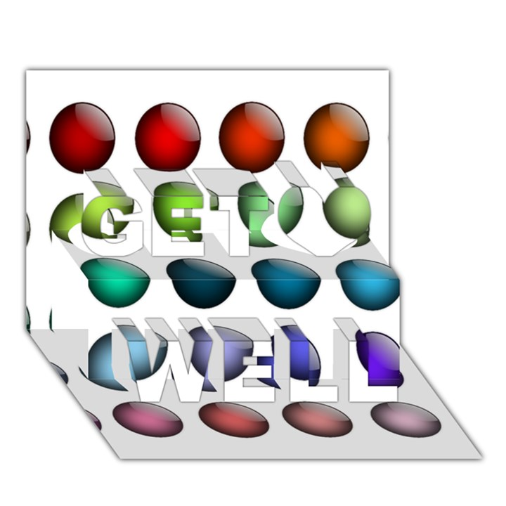 Button Icon About Colorful Shiny Get Well 3D Greeting Card (7x5)