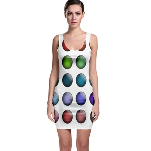 Button Icon About Colorful Shiny Sleeveless Bodycon Dress