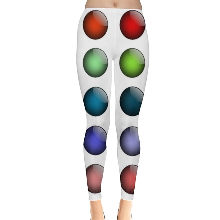 Button Icon About Colorful Shiny Leggings