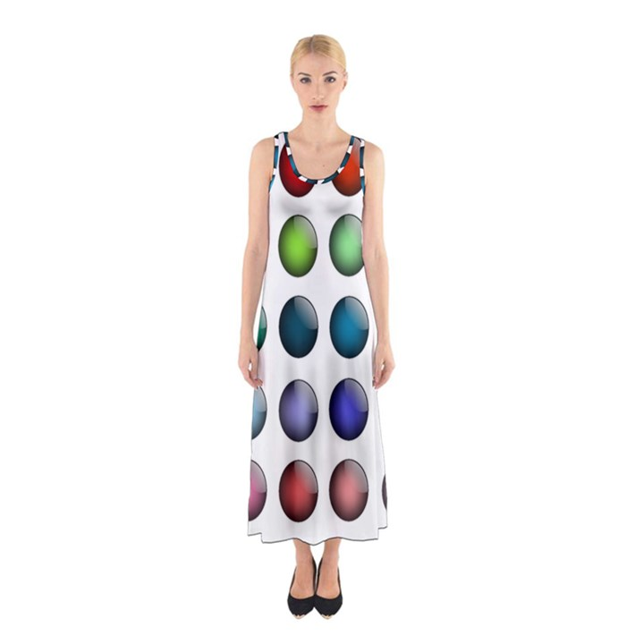Button Icon About Colorful Shiny Sleeveless Maxi Dress