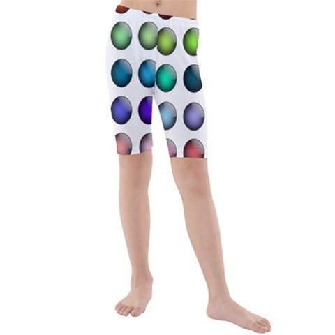 Button Icon About Colorful Shiny Kids  Mid Length Swim Shorts