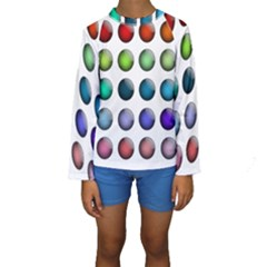 Button Icon About Colorful Shiny Kids  Long Sleeve Swimwear