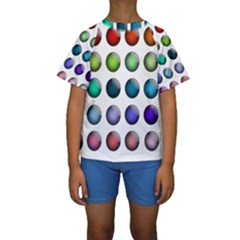 Button Icon About Colorful Shiny Kids  Short Sleeve Swimwear