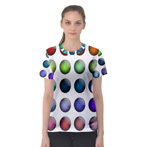 Button Icon About Colorful Shiny Women s Sport Mesh Tee