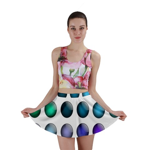 Button Icon About Colorful Shiny Mini Skirt