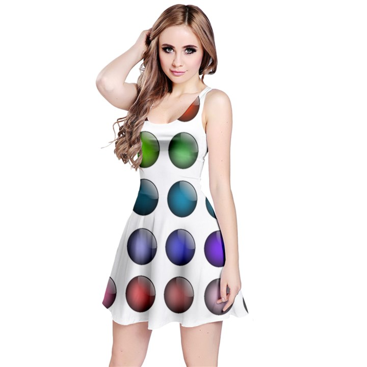 Button Icon About Colorful Shiny Reversible Sleeveless Dress