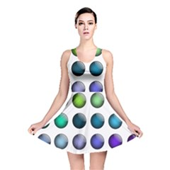 Button Icon About Colorful Shiny Reversible Skater Dress