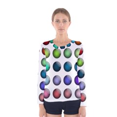 Button Icon About Colorful Shiny Women s Long Sleeve Tee