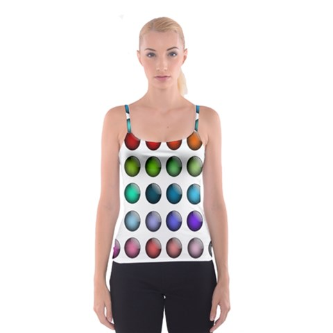 Button Icon About Colorful Shiny Spaghetti Strap Top