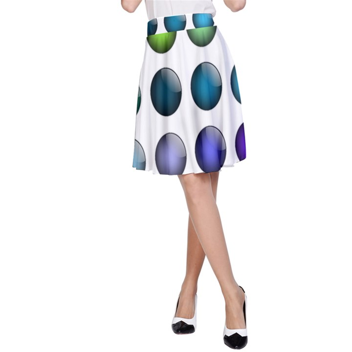 Button Icon About Colorful Shiny A-Line Skirt