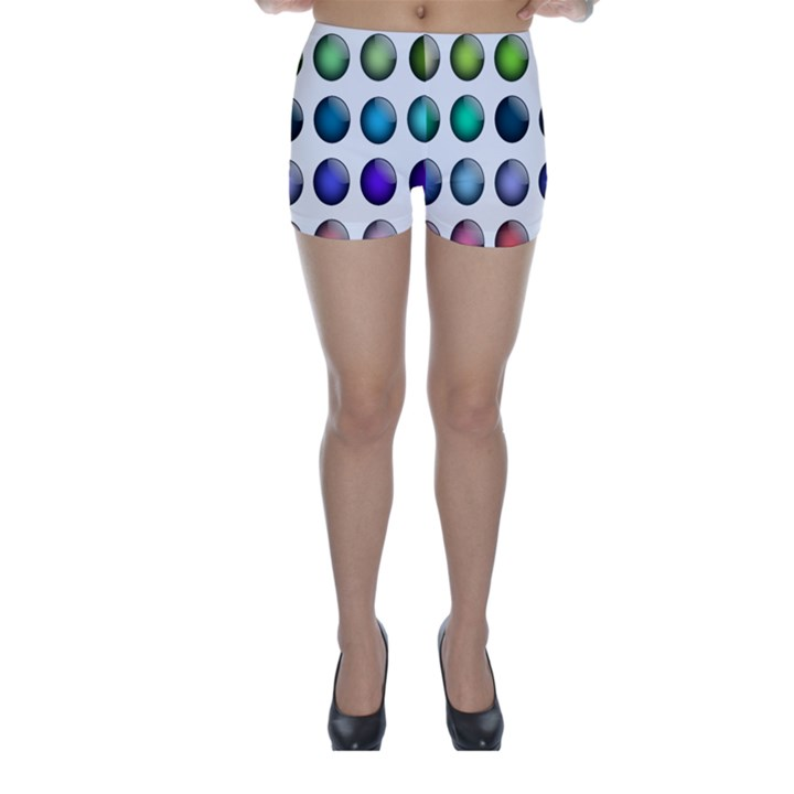 Button Icon About Colorful Shiny Skinny Shorts