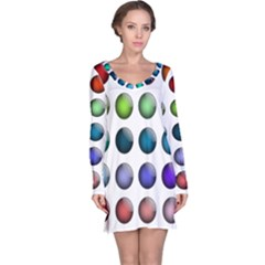 Button Icon About Colorful Shiny Long Sleeve Nightdress