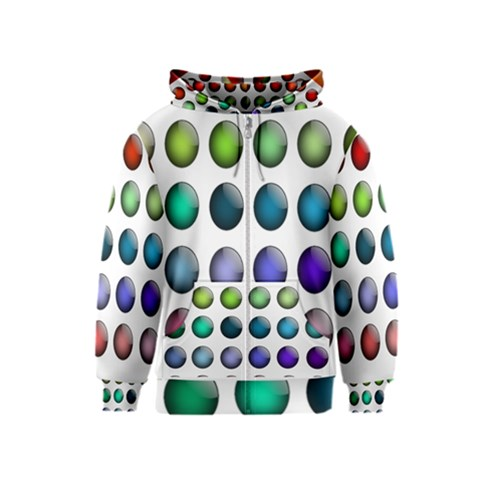 Button Icon About Colorful Shiny Kids  Zipper Hoodie