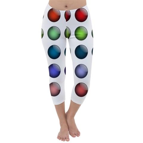 Button Icon About Colorful Shiny Capri Winter Leggings