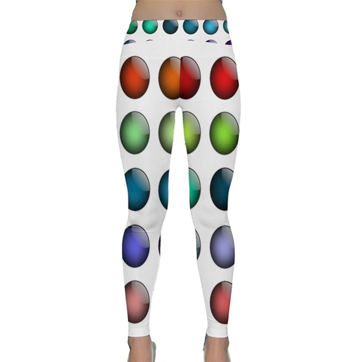 Button Icon About Colorful Shiny Yoga Leggings