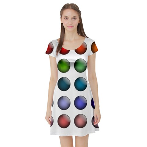 Button Icon About Colorful Shiny Short Sleeve Skater Dress