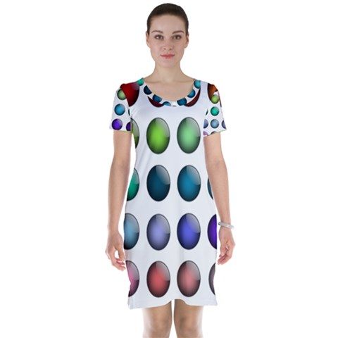 Button Icon About Colorful Shiny Short Sleeve Nightdress