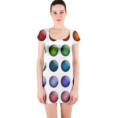 Button Icon About Colorful Shiny Short Sleeve Bodycon Dress