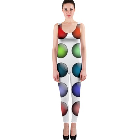 Button Icon About Colorful Shiny OnePiece Catsuit