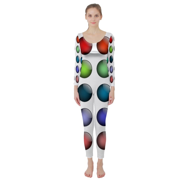 Button Icon About Colorful Shiny Long Sleeve Catsuit