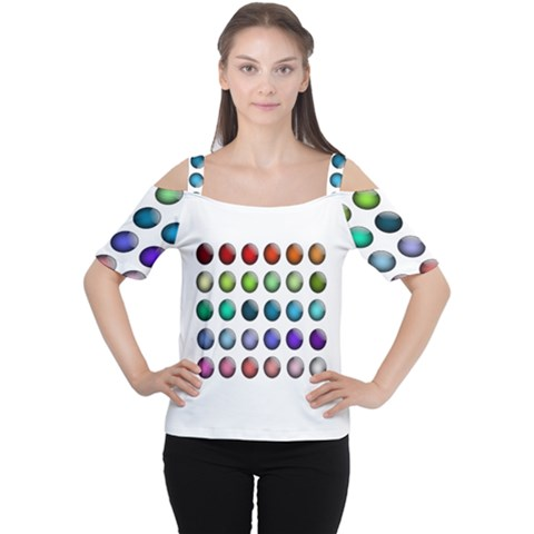 Button Icon About Colorful Shiny Women s Cutout Shoulder Tee