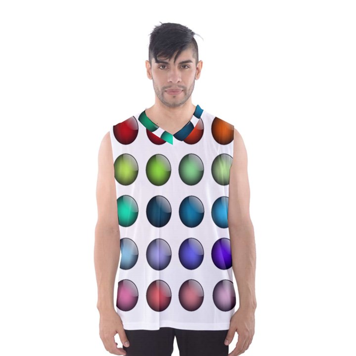 Button Icon About Colorful Shiny Men s Basketball Tank Top