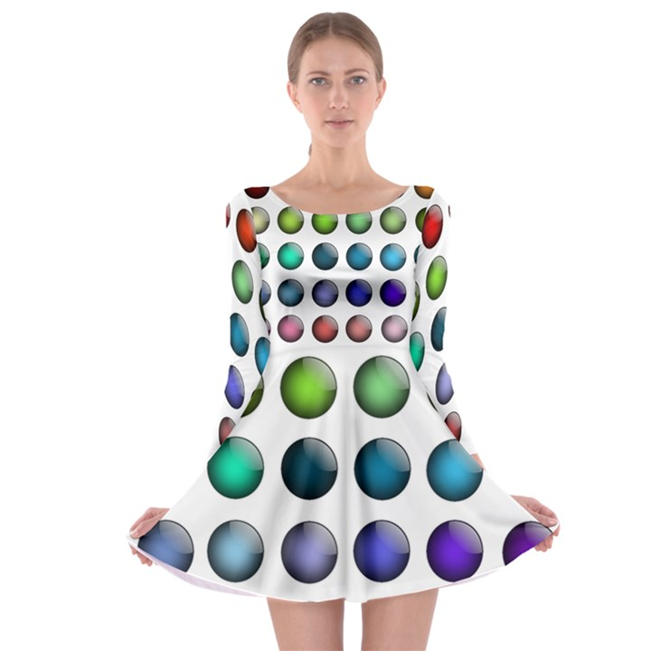 Button Icon About Colorful Shiny Long Sleeve Skater Dress