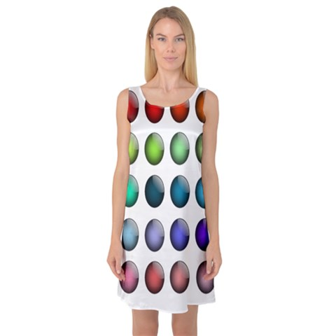 Button Icon About Colorful Shiny Sleeveless Satin Nightdress