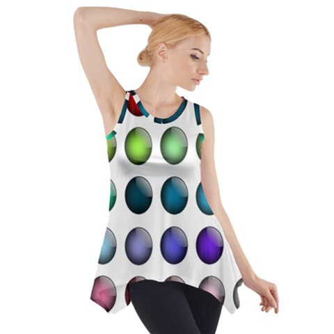 Button Icon About Colorful Shiny Side Drop Tank Tunic
