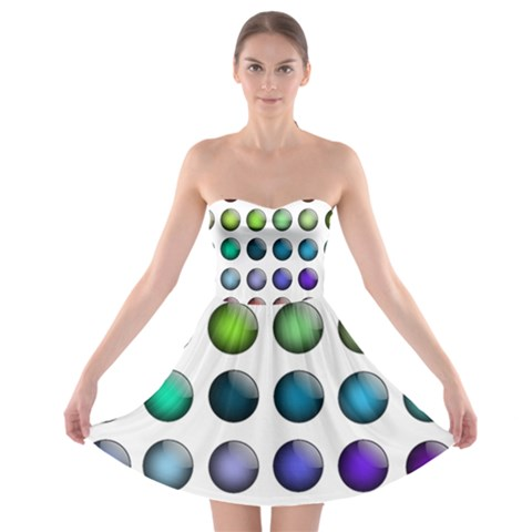Button Icon About Colorful Shiny Strapless Bra Top Dress