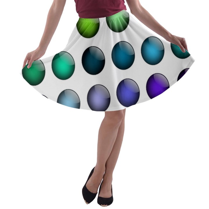 Button Icon About Colorful Shiny A-line Skater Skirt