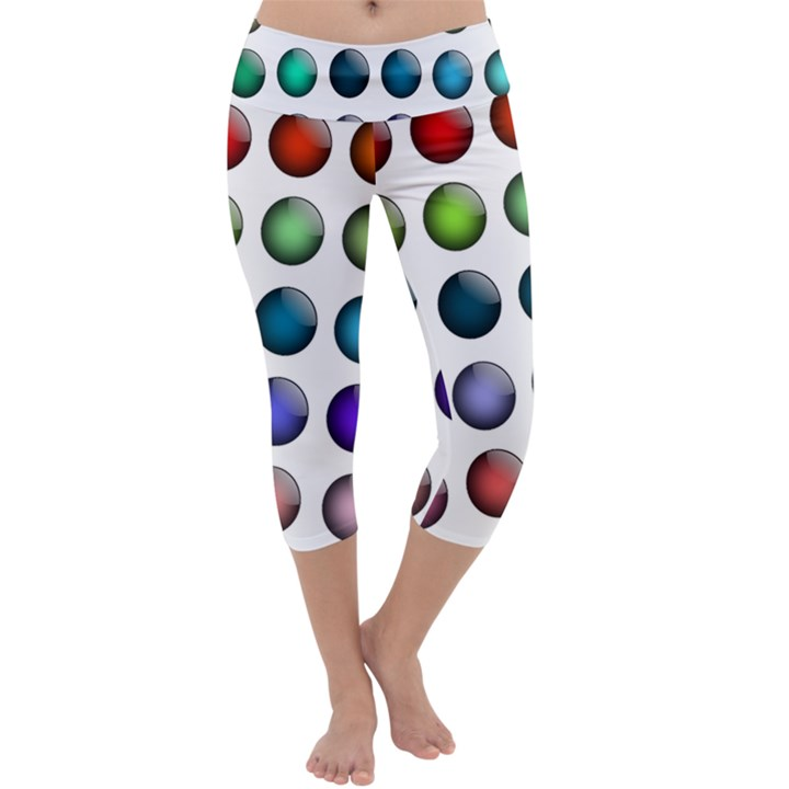 Button Icon About Colorful Shiny Capri Yoga Leggings