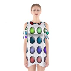 Button Icon About Colorful Shiny Cutout Shoulder Dress