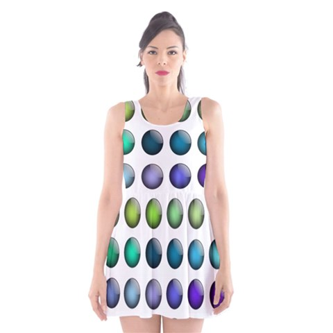 Button Icon About Colorful Shiny Scoop Neck Skater Dress