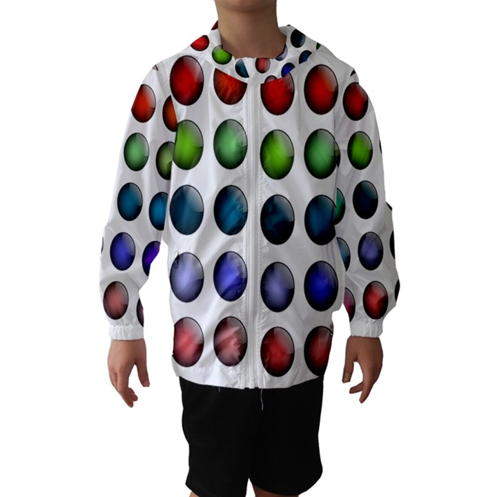 Button Icon About Colorful Shiny Hooded Wind Breaker (Kids)