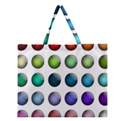 Button Icon About Colorful Shiny Zipper Large Tote Bag