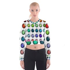 Button Icon About Colorful Shiny Women s Cropped Sweatshirt