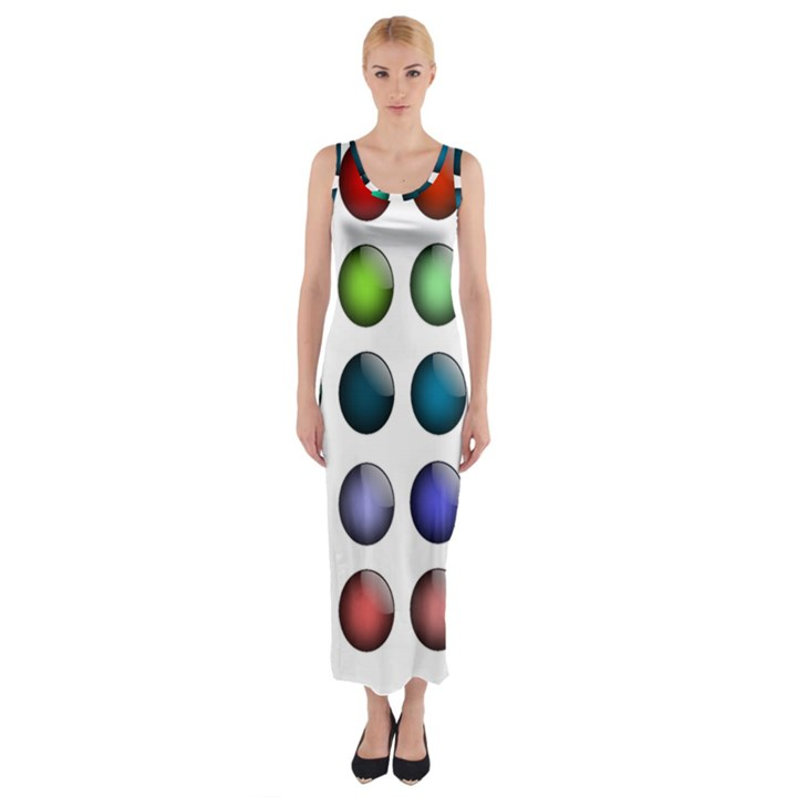 Button Icon About Colorful Shiny Fitted Maxi Dress