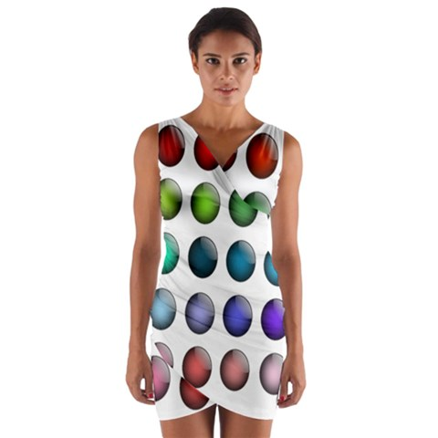 Button Icon About Colorful Shiny Wrap Front Bodycon Dress