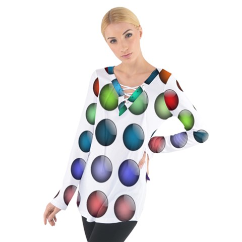Button Icon About Colorful Shiny Women s Tie Up Tee