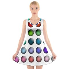 Button Icon About Colorful Shiny V-Neck Sleeveless Skater Dress