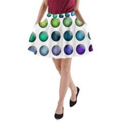 Button Icon About Colorful Shiny A-Line Pocket Skirt