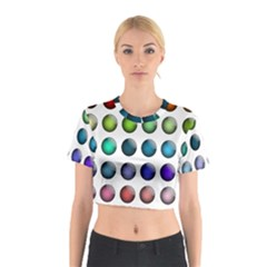 Button Icon About Colorful Shiny Cotton Crop Top