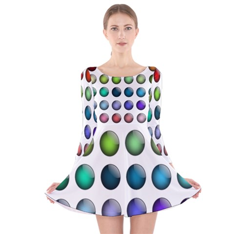 Button Icon About Colorful Shiny Long Sleeve Velvet Skater Dress