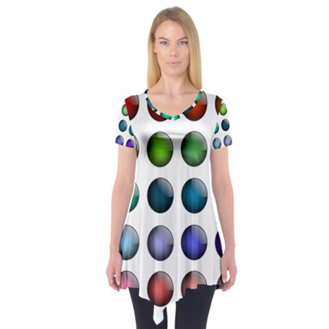 Button Icon About Colorful Shiny Short Sleeve Tunic