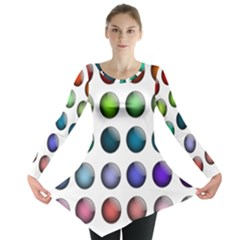 Button Icon About Colorful Shiny Long Sleeve Tunic